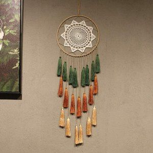 UO Feather Green Boho Dream Catcher Wall Hanging